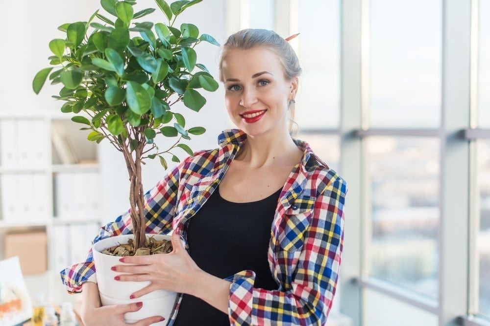 smiling woman holding indoor plant
