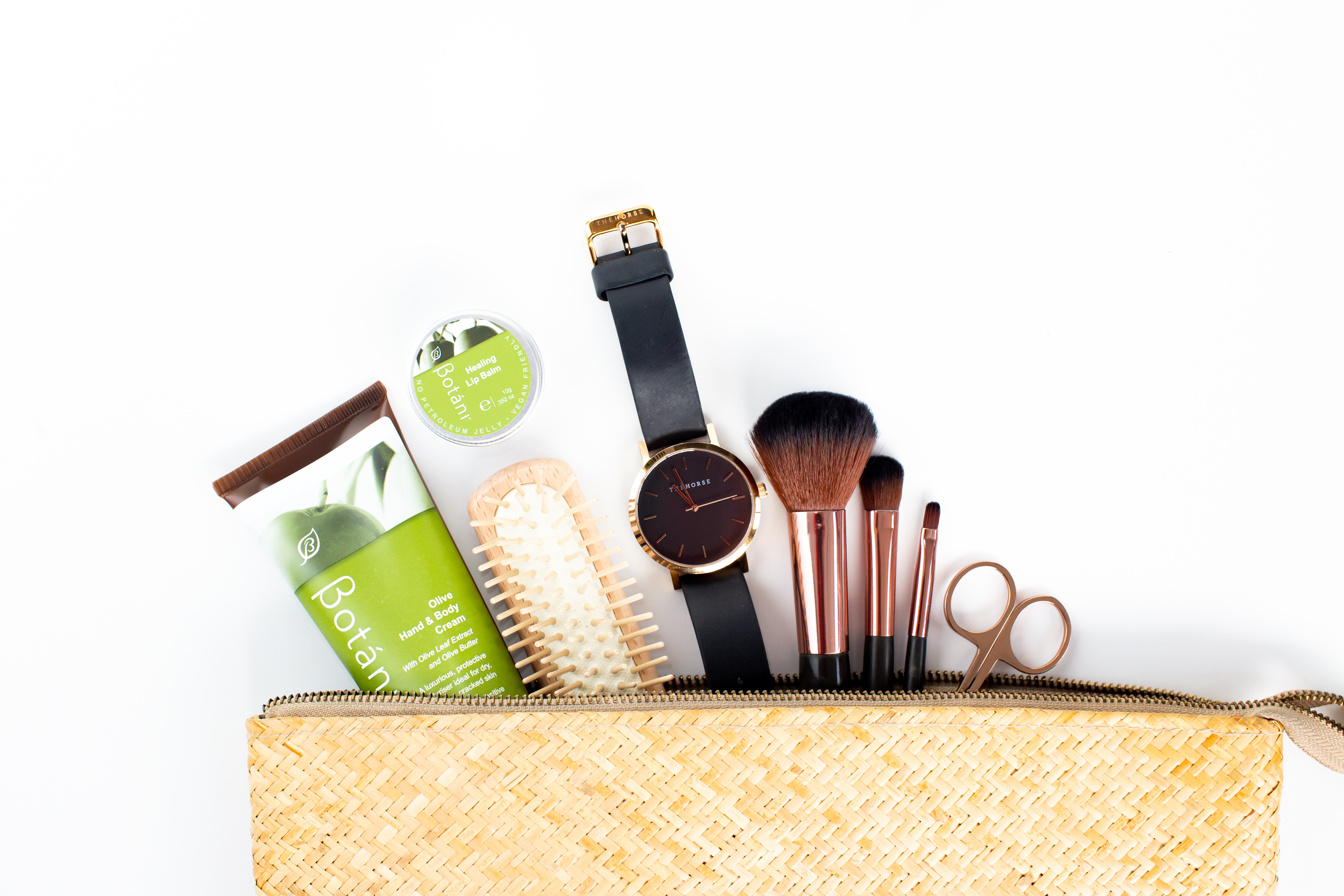 Botani products in cosmetic bag